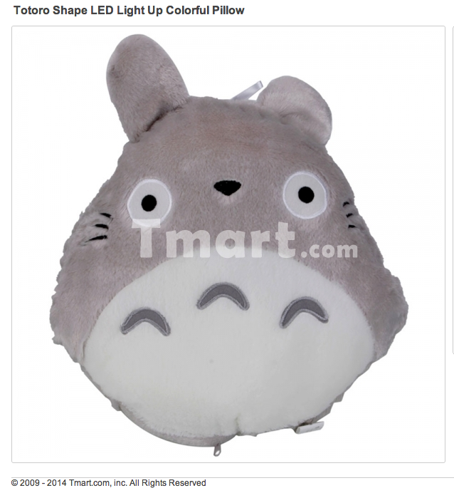Totoro Shape LED Light Up Colorful Pillow